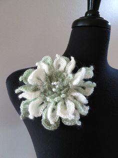 Elegant Dahlia Crocheted Flower Brooch Pin. $15.00, via Etsy.