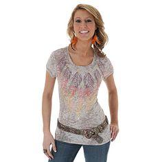 Wrangler® Western Fashion Short Sleeve Printed Scoop Neck Top - Natural
