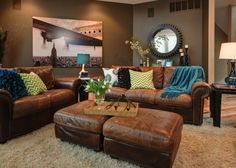 Love this leather furniture for the living room