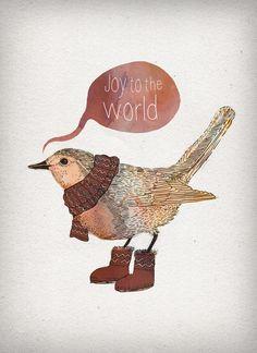 Joy to the World Art Print by fleck Christmas Bird, All Things Christmas, Winter Christmas, Vintage Christmas, Xmas, Joy To The World, Bird Illustration, Illustrations, Blog Deco
