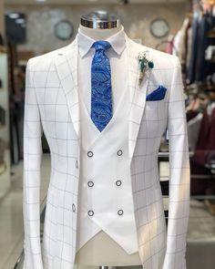 Wedding Suits Slim-Fit Plaid Suit White – BOJONI - Available Size : material : e viscose , 2 polyester , lycra Machine washable : No Fitting : slim-fit Remarks : Dry Cleaner Slim Fit Tuxedo, Slim Suit, Tuxedo For Men, Tuxedo Suit, Wedding Dresses Men Indian, Wedding Suits, Prom Dresses For Men, Dress Suits For Men, Men Dress