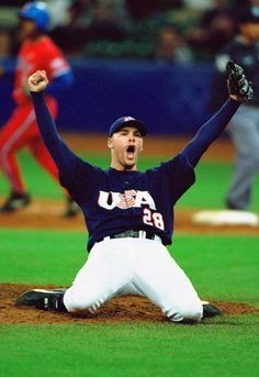 RHP Ben Sheets after recording the final out to win the Gold medal of the 2000 Olympics