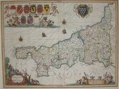 Antique Maps | UK England | Cornwall | Map by Jan Jansson (Ref 1000183)