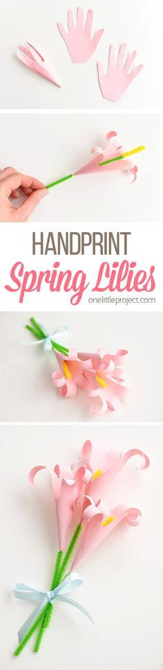 Handprint Lilies | How to Make an Easy Paper Lily.paper flowers