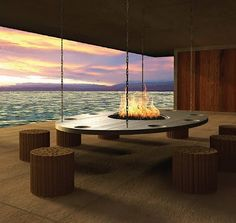 Stainless steel hanging indoor fire table, USA