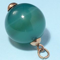 Vintage 14ct 14kt rose gold Austrian charm large green agate ball fob