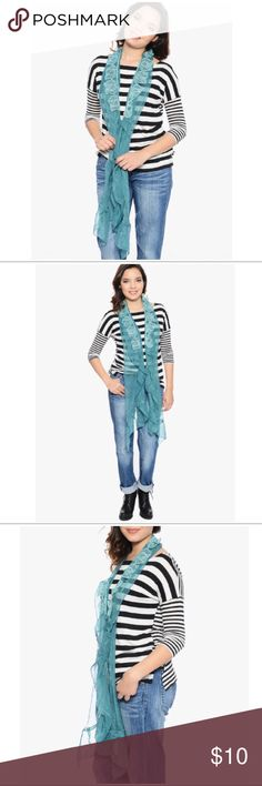 """Teal and Aqua Chiffon Scarf Sheer Perfection teal with aqua embroidered leaves that are attached to the scarf for a flowing design! Add some spunk to your jeans and tee's and moto boots or some chic style to a black dress! Dare to wear this piece with a cool look for a completely sassy feel!   *76"""" L *100% polyester, Hand wash  BUNDLE DISCOUNTS, NO TRADES, SMOKE FREE Boutique Accessories Scarves & Wraps"""