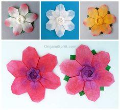 Post image for Flor de seis pétalos en origami– Es también un copo de nieve!