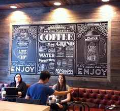 Vintage-style typography mural for Starbucks by Jaymie McAmmond Deco Restaurant, Restaurant Design, Coffee Shop Design, Cafe Design, Design Web, Logo Design, Graphic Design, Vintage Cafe, Vintage Style
