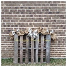 Burlap Garland!!  Perfect for all seasons! Made on floral wire, so that you can decorate with it anywhere in your house with ease. The garland in the picture is 7 feet long with chevron bows. **3ft, 5ft, 9ft, and 10ft garlands are available, just choose your preference at checkout**  The bows can be made in 8 different burlap colors, choose your color choice when purchasing. *Burlap bow colors are shown in the last picture*  See all of my other garlands here>>>> https://...