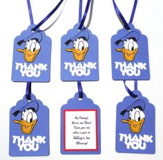 Thank You Favor Tags Personalized Donald Duck by ScrapsToRemember, $12.00