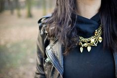 necklace, leather jacket, outfit, style,