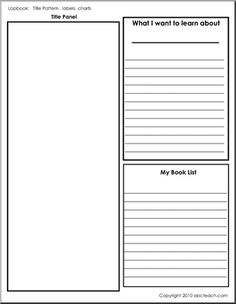 Lapbook: Template; Title, Labels, Charts (b/w) - A template page for creating a lapbook.