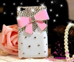 IPod Touch 4 Case, White Case Pink Bow IPod Touch 4 Case, Cute IPod Touch 4th Case, Crystal Bling I on Luulla