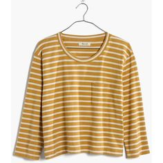 MADEWELL Long-Sleeve Crop Tee in Linden Stripe ($50) ❤ liked on Polyvore featuring tops, t-shirts, curry powder, brown t shirt, boxy crop tee, striped crop top, long sleeve cotton tees and striped long sleeve tee