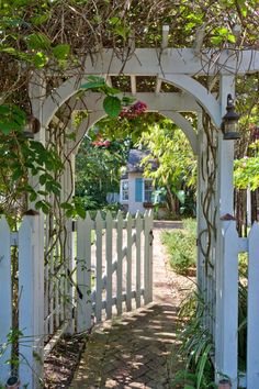 Interiors Arch Trellis and gate.House of Turquoise: Margaux InteriorsArch Trellis and gate.House of Turquoise: Margaux Interiors Wooden Garden Gate, Garden Gates And Fencing, Garden Arbor, Garden Trellis, Garden Archway, Garden Bridge, Trellis Gate, Arbor Gate, Arbor Bench