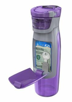 A water bottle for the gym that holds your personal things- house key, money, drivers license. And it's only $13 from amazon    Contigo AUTOSEAL Kangaroo Water Bottle with Storage Compartment, 24-Ounce, Purple