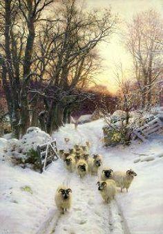 Joseph Farquharson - The Sun Had Closed the Winter's Day (oil on canvas)