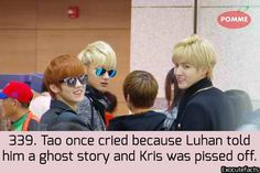 Exo Facts. It's sweet how much Kris loves and takes care of Tao.