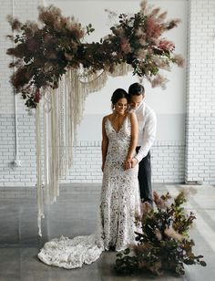 Matte Black Wedding Inspiration // modern macrame textured wild foliage floral backdrop