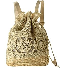 57b30afcdb Women Straw Drawstring Backpack Fashion Shoulder Bag Beach Purse Boho  Knitted Handbag     Want additional info  Click on the image.