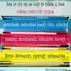 How to set-up an easy to follow and find colour coded file system; organizing paperwork with a colour coded file system will help you tackle paper clutter.