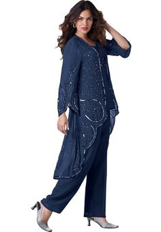Sparkling sequins and beads adorn the sheer georgette duster and sleeveless shell top of this elegent 3pc pant suit.
