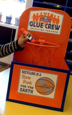 """Recycling is a """"Slam Dunk"""" for the earth with the Elmer's Glue Crew Recycling Program. I and create this basketball-themed donation box Recycling Ideas For School, Recycling Bins, Recycling Games, Paper Recycling, Recycling Projects, School Ideas, Art Classroom, Classroom Organization, Classroom Projects"""