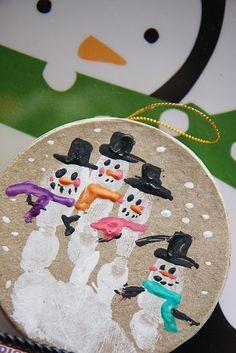 another version of handprint snowmen ornaments