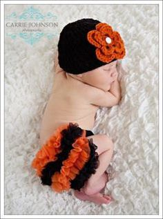 Halloween Chiffon Ruffle Bum Bloomers Diaper cover by my2lilpixies, $9.95