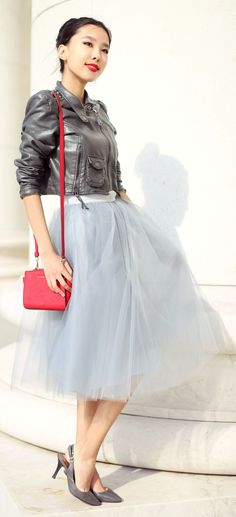 Grey Tulle Skirt Outfit Idea