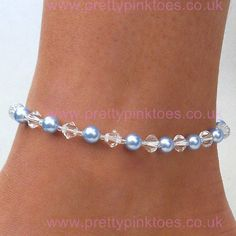 Crystal and Powder Blue Pearls - Anklets for your Wedding Day