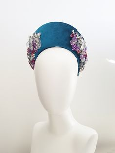 Luxurious blue velvet embellished with purple crystals, pearls and silver lace. Update - Sold Out - Contact to have a custom headpiece made based off this design Qe 2, Halo Headband, Fall Hats, Races Fashion, Vintage Headbands, Vintage Party, Headpieces, Blue Velvet, Street Chic