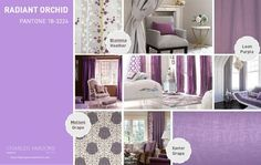 Radiant Orchid - Pantone Spring 2014 - This is a vivacious lavender shade with a hint of romanticism.  This punchy purple is a great way to introduce feminine shades to your décor.  Molteni Grape is an intricate damask design sure to please, while Leon Purple offers a gentle wavering stripe.  Xavier Grape is a perfect bold steely purple to complement Blomma Heather, a reedy modern print.