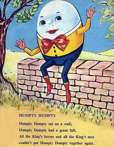 Cute Humpty Dumpty | Brightly Cute Humpty Dumpty Vintage Illustration