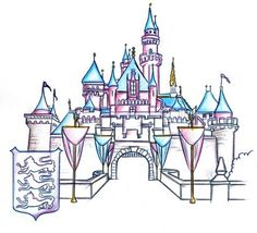 Sleeping Beauty Castle, Included in the New Park Icon Sketch Collection Debuting at Disneyland Disney Castle Drawing, Castle Sketch, Drawing Disney, Arte Disney, Disney Love, Disney Magic, Disney Theme, Disneyland Castle, Disneyland Park