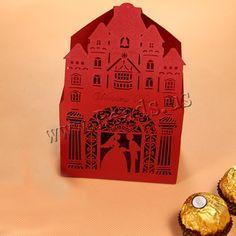 Boîte de bonbons de mariage, papier, creux, rouge, 57x88x140mm