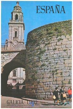La muralla de Lugo en un cartel de turismo de España del año 1964