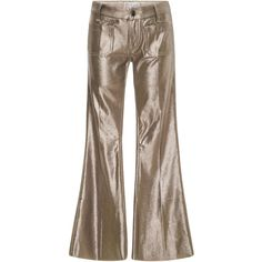 Seafarer M'O Exclusive Penelope Lamé Flared Pants (5.135.695 IDR) ❤ liked on Polyvore featuring pants, gold, brown pants, brown trousers, flared trousers, flared pants and flare trousers
