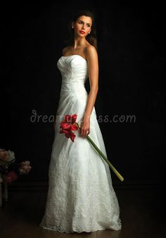 lace a-line strapless with applique and pleats floor-length wedding dress - Dreamy-dress.com