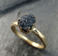 … Raw Diamond Solitaire Engagement Ring Rough Uncut gemstone gold Conflict Free Black Diamond Wedding Promise by …