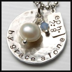 By Grace Alone- Handstamped Necklace with any words of your choosing