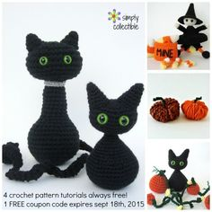 FREE 4 Adorable Halloween #crochet patterns by SimplyCollectibleCrochet.com