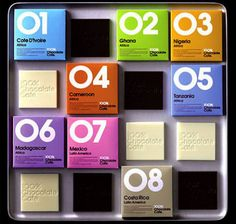 Each of 100% Chocolate Cafe's 56 flavors – including cheese and black pepper – are boldly numbered on brightly colored packaging, making it easy for enthusiasts to quickly locate their favorites among the large displays