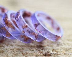 Resin Ring Smoky Violets faceted stacking ring with by ARTISUNtis