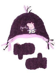 619c6a202e1 Peppa Pig fleece hat and mittens set Fleece Hats