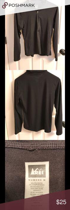 REI Half-Zip Base Layer REI half-zip base layer in black. Size Medium. 94% polyester, 6% Lycra spandex. REI Tops Tees - Long Sleeve