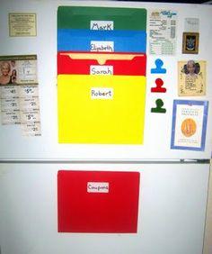 great paper organization stuck to the fridge