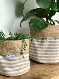 Pot Plant Cover Taupe Scout Stripe and Hessian Reversible Plastic Planter, Plastic Pots, Hessian, Burlap, Leather Restoration, Hanging Herbs, Plant Covers, Crochet Basket Pattern, Art N Craft