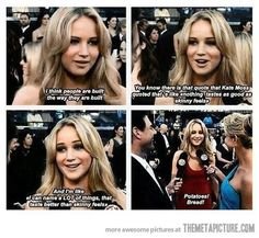 "Jennifer Lawrence- ""I can name a lot of things that taste better than skinny feels!"""